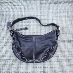 Coach small black leather shoulder bag